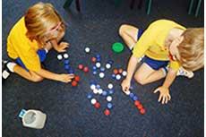 Students use concrete materials to build their understanding of mathematical concepts
