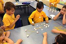 Students work cooperatively to test the properties of different materials in a science-based unit of work