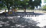Students enjoy playing in the flexible outdoor spaces including our giant chessboard